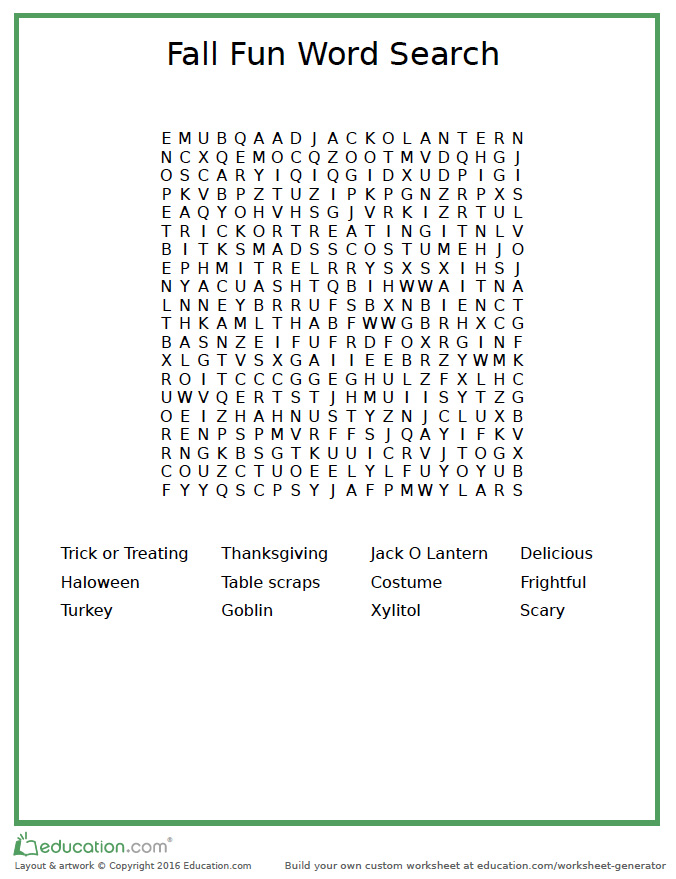 fall word search vet